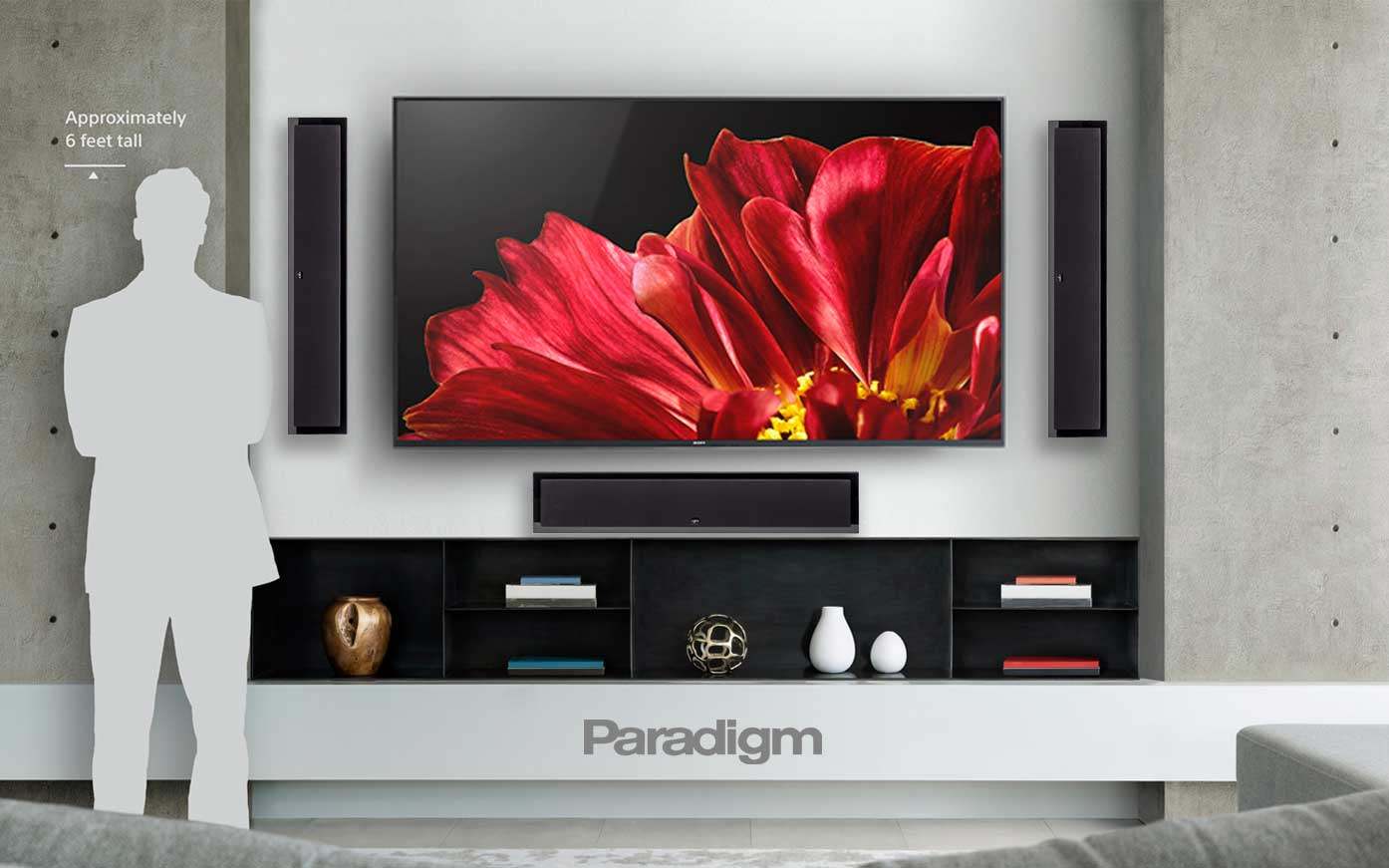 Paradigm on wall flat screen Millennia LP2 XL Speakers